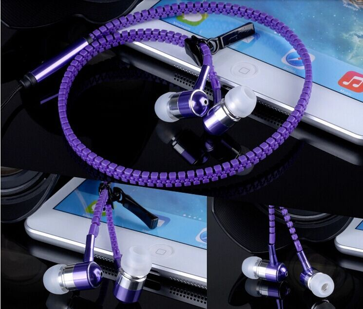 2015 Consumer Electronics Portable Audio Video In Ear Zipper High Quality Metal Zipper Earphones Headphone With