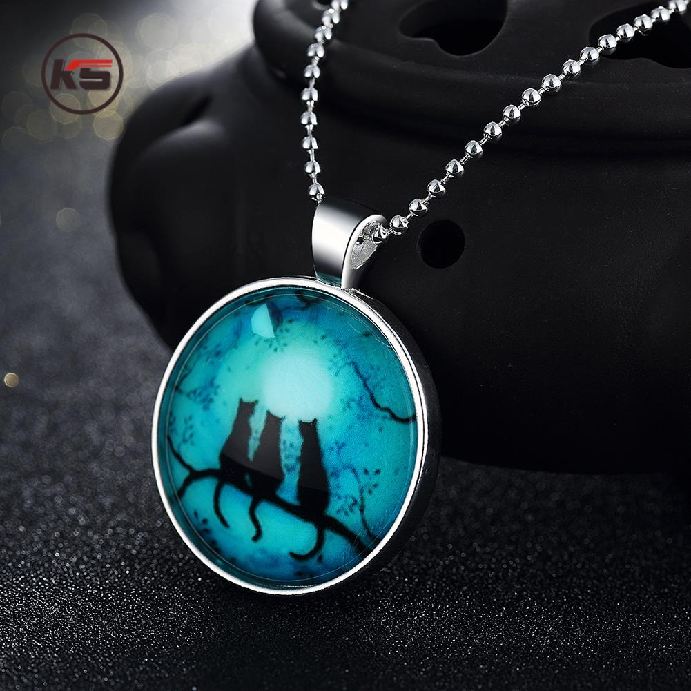 2016 Fashion Glass Cabochon Glow In The Dark Necklace Jewelry Luminous Women Men Silver Plated Round Moon Wolf Shadow Necklace(China (Mainland))