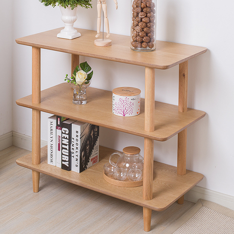 Simple Modern Storage Rack Tiered Stand Solid Wood White
