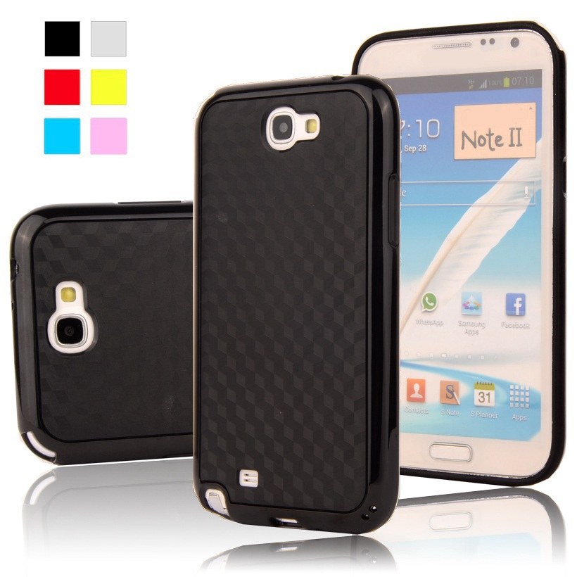 Note2 Black 3D Carbon Fiber Matte Hybrid TPU+PC gel Double Layers Case For Samsung Galaxy Note II 2 N7100 Mobile phone Cover(China (Mainland))