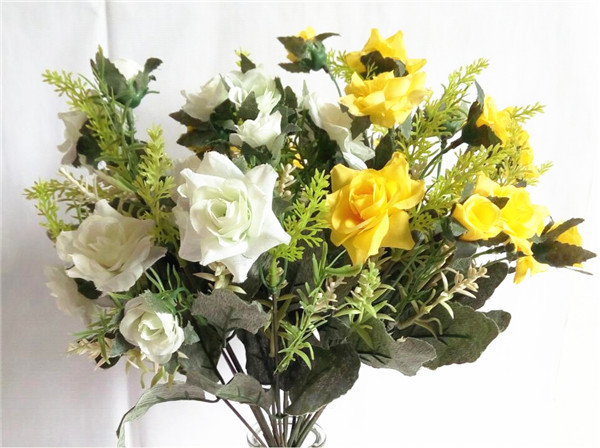 2 pcs Yellow Rose White Rose Retro Rose Bouquet Rose Buds Artificial silk flower 9 forks decorative flower European Style(China (Mainland))