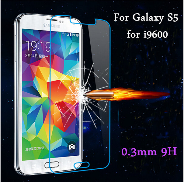 50pcs Premium Tempered glass screen protector for Samsung Galaxy GALAXY S5 i9600 Top screen protective film amazing anti shatter