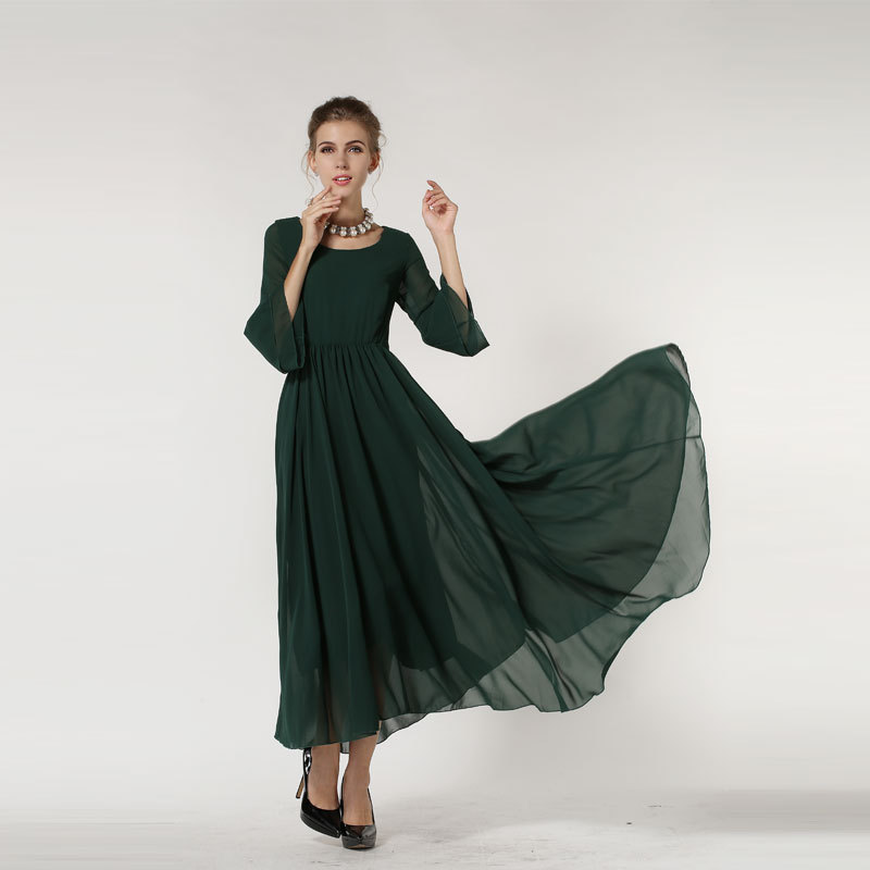 Three Quarter Sleeve Maxi Dress Three Quarter Sleeve