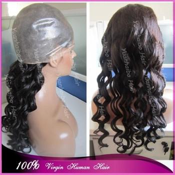 "Hot Sale High Quality 22"" #1b loose wave virgin malaysian full pu cap thin skin wigs free shipping"