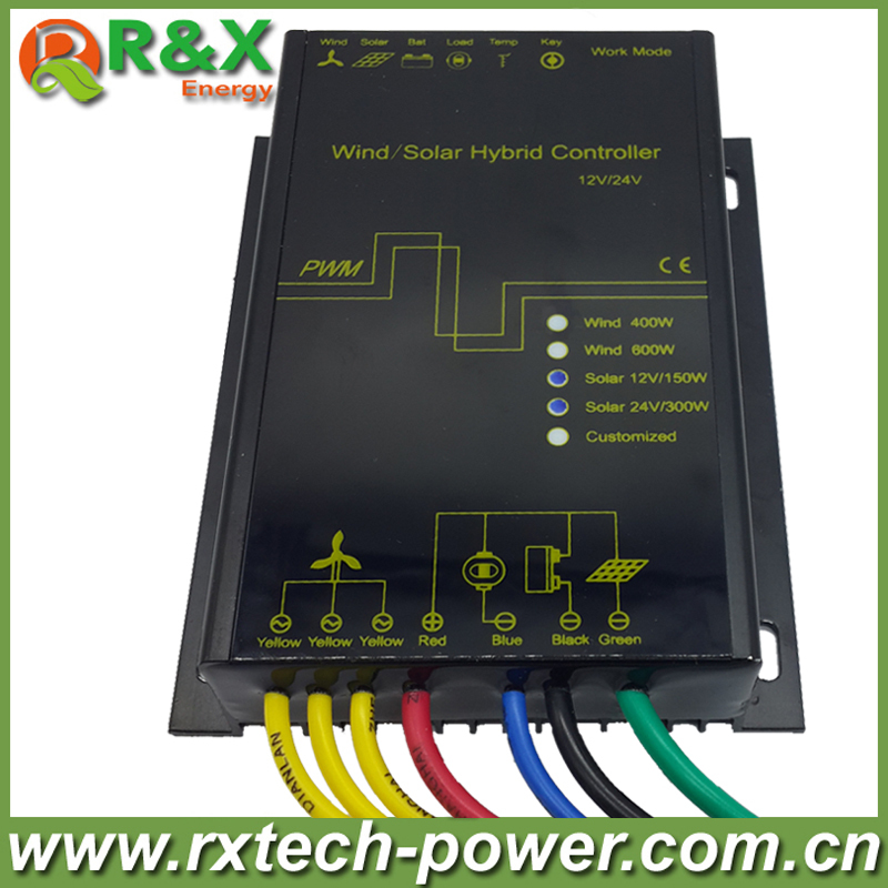LED display Wind solar hybrid charge controller for 600w max wind generator and 12V/150W, 24V/300W solar panel(China (Mainland))