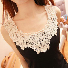 Women Lace Fashion Stretch Flower Print Summer T-shirt Cotton Material Tops & Tees()