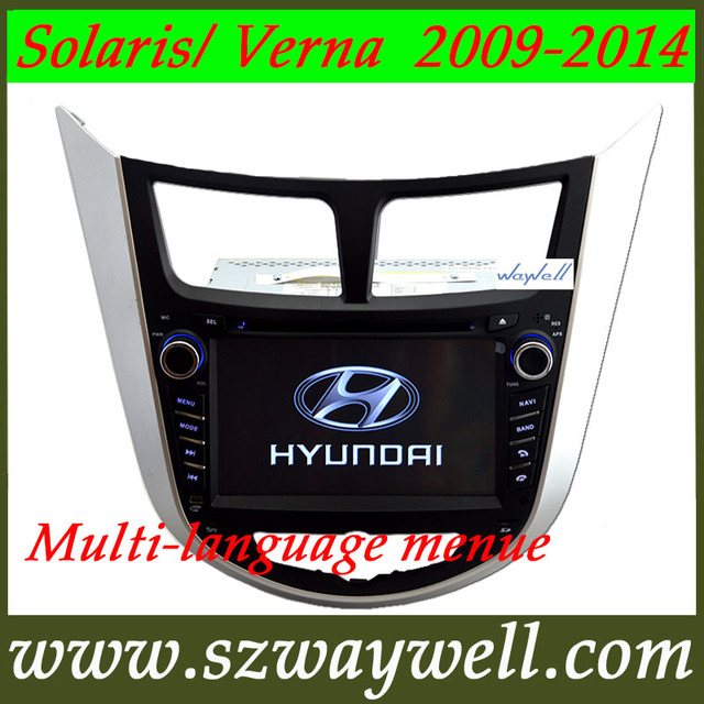 Car radio tape DVD GPS navigation  for Hyundai Solaris Verna i25 2009-2014  latest IGO NAVITEL MAP camera gift