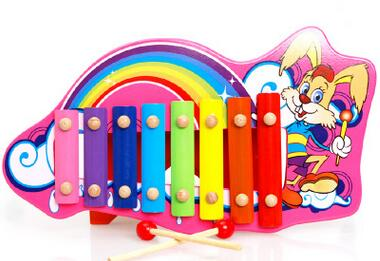 Children's educational enlightenment toys Cute Animal Wooden knock piano octave knock wood hand piano sound free shipping(China (Mainland))