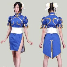 Buy Street Fighter Chun Li Game Halloween Cosplay Costume Women Blue/Black/Pink/ Dress Outfit Headpiece Free Wholesale for $45.99 in AliExpress store
