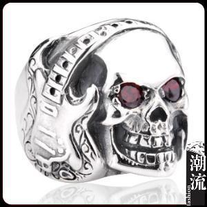 Really 925 silver vintage lucky Pure handmade acid Super exaggerated rock guitar skull ring for men women(China (Mainland))