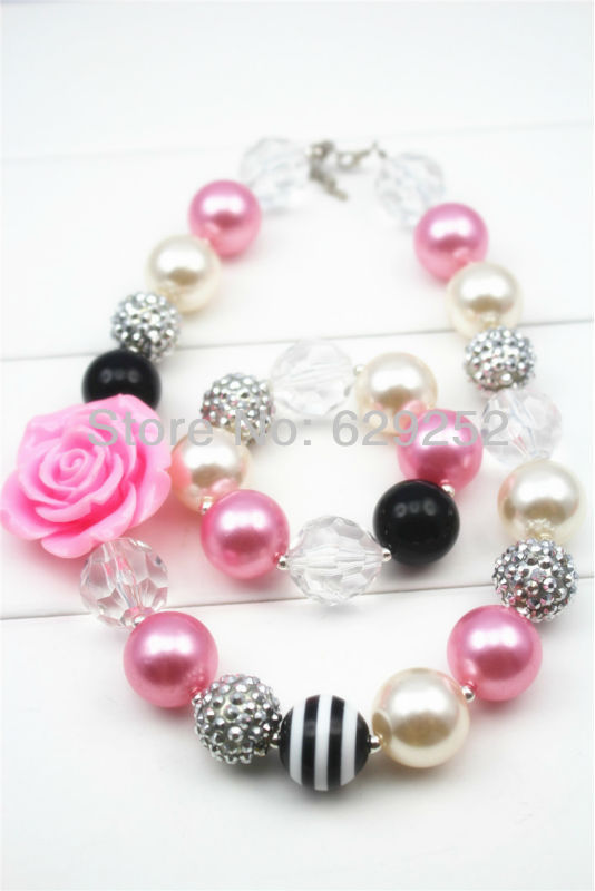 10Pcs Lot Sweet &amp; Sassy Pink and Black Chunky Girls Necklace and Bracelet Set Girls Bubblegum Chunky Necklace CB089<br><br>Aliexpress