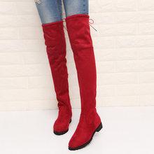 Slim Giày Gợi Cảm Trên Đầu Gối Da Lộn Cao Cấp Nữ Ủng Nữ Thời Trang Mùa Đông Đùi Giày Boots Cao Người Phụ N(China)
