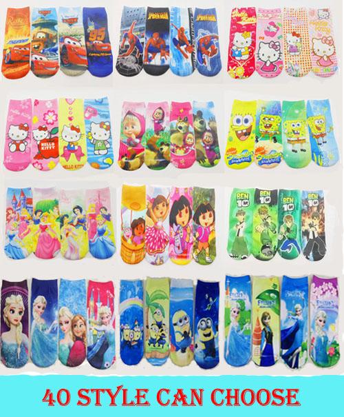 4 Pairs 7 Inches Children Socks Summber Style Kids Socks Hello Kitty Masha And Bear Girls Socks For Children Cartoon Socks(China (Mainland))