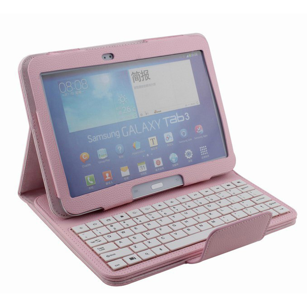 """Universal 10.1"""" Tablet PC Cover Removable For Samsung Galaxy Tab 3 P5200 Bluetooth Keyboard stand Split Leather Case 4 Colors(Hong Kong)"""
