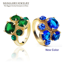 Neoglory Zircon Rhinestone Engegement Green Rings for Women Fashion Jewelry Accessories Brand Gothic Style 2014 New Hot Gift