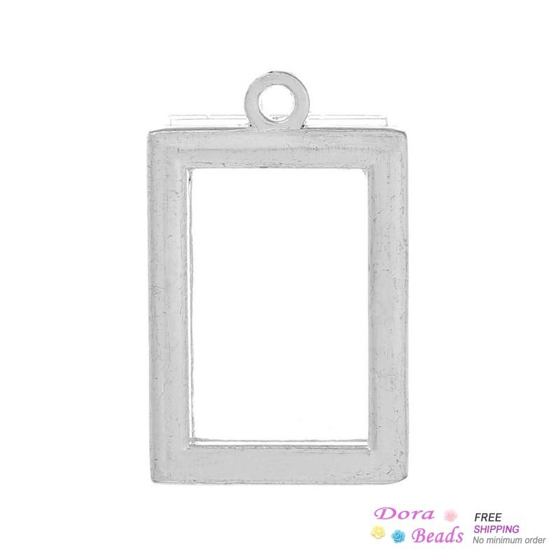 Charm Photo Frame Pendants Rectangle W/Plastic Film (Fits 16.5mmx10.5mm Photo Size)Silver Tone 25mmx16mm,10PCs (B36025)8seasons(China (Mainland))