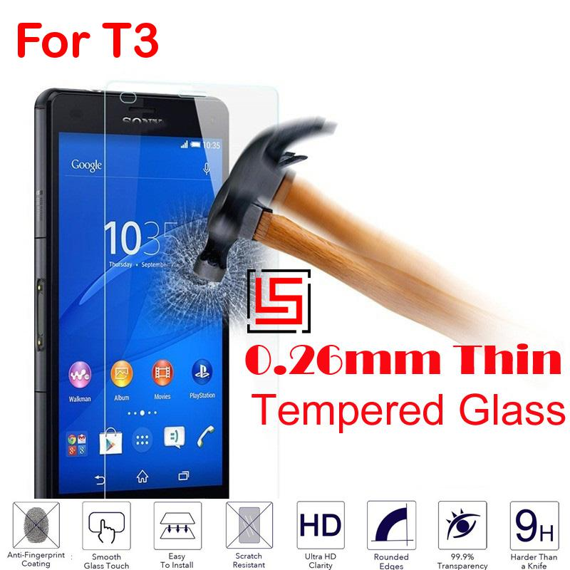 Ultra Thin 0.26mm 2.5D 9H Tempered Temper Glass Phone Mobile Cell Front Film Screen Pantalla Protector For Sony Soni Xperia T3(China (Mainland))