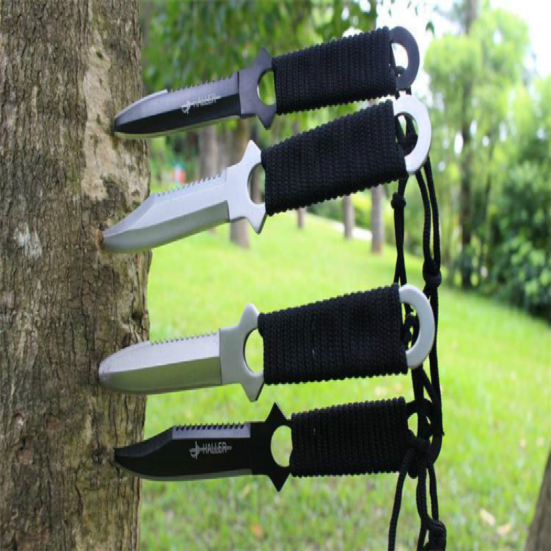 Buy HOT! 4pcs/set high quality Swiss Puttee straight knife outdoor survival portable Army Knife tool Counter Strike Tactical Knife cheap