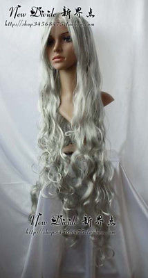 New long Silver Gray Cosplay Party Curly WigParty cosplays heat resistant (B0320)<br><br>Aliexpress