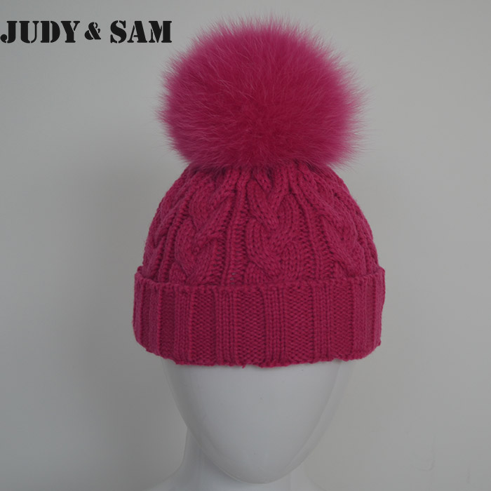 1-3 Years Kids Winter Knitted Beanies With Luxury Genuine Fox Fur Pom Pom Real Fur Ball Bobble Hats for Girls(China (Mainland))