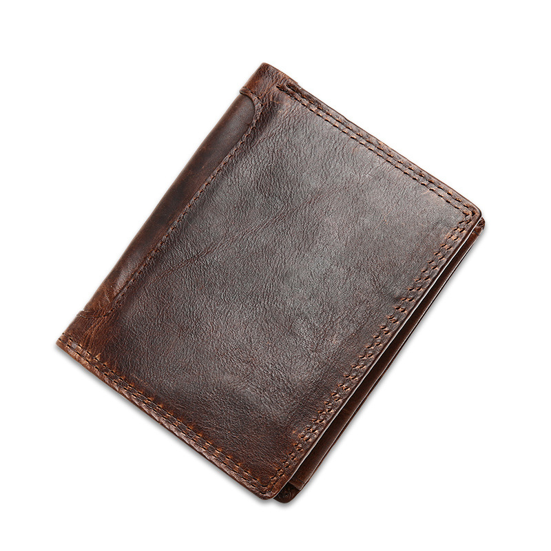 New 2016 Luxury Design Vintage Mens Wallets Crazy Horse Genuine Leather Short Male Purse<br><br>Aliexpress