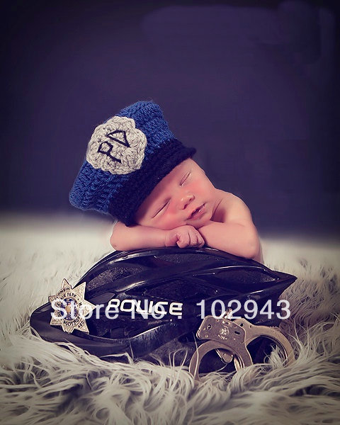 Free shipping Baby Police Man Policeman Hat handmade crochet photography props newborn baby cap(China (Mainland))
