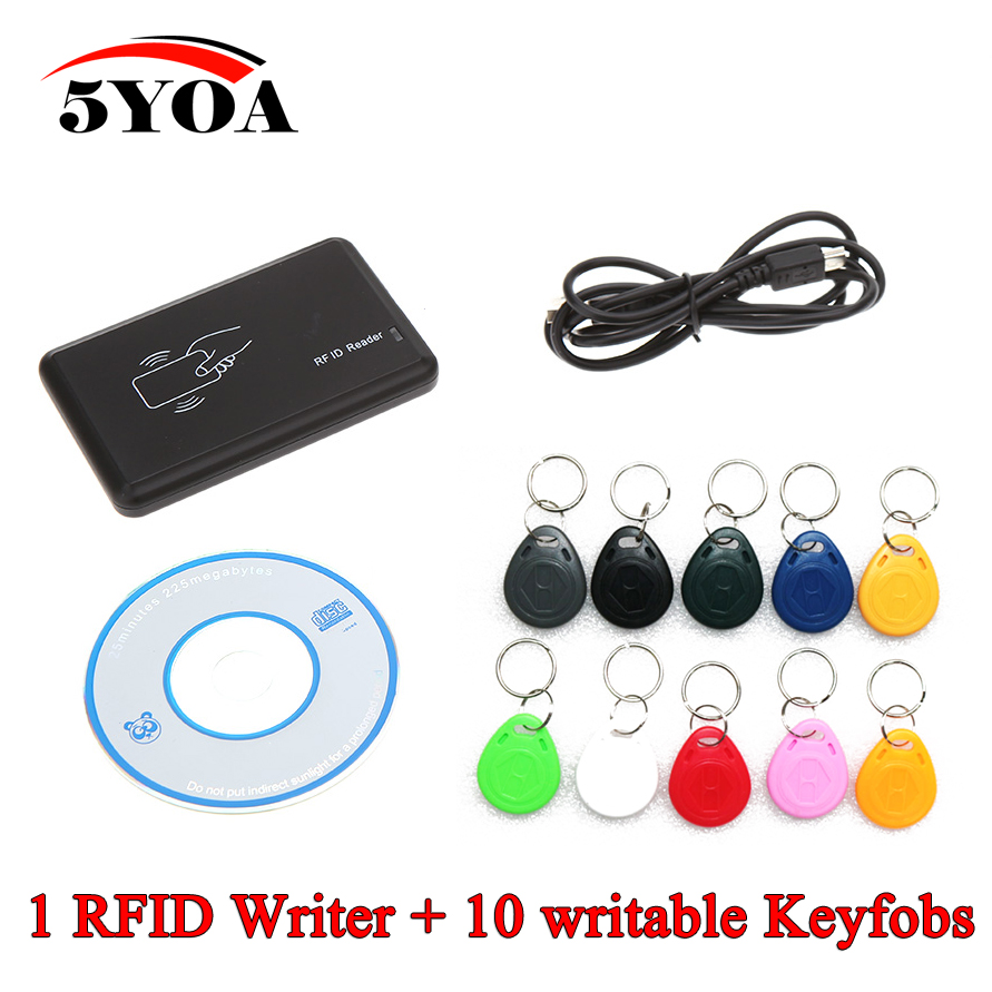 Cloner 125KHz EM4100 RFID Copier Writer Duplicator Programmer Reader +10 Pcs EM4305 T5577 Rewritable ID Keyfobs Tags Card(China (Mainland))