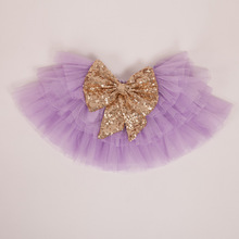 EMS DHL Free Shipping Princess tutus Skirt Bow Sequin Sparkle flower prom Tiers Skirt Kids Children's Wear 5 Colors(China (Mainland))