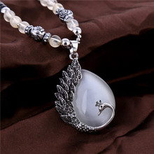 peacock pendant charms opal necklaces women jewelry 2016 new Beads Chain Sweater necklace heavy metal crystal fashion lots(China (Mainland))