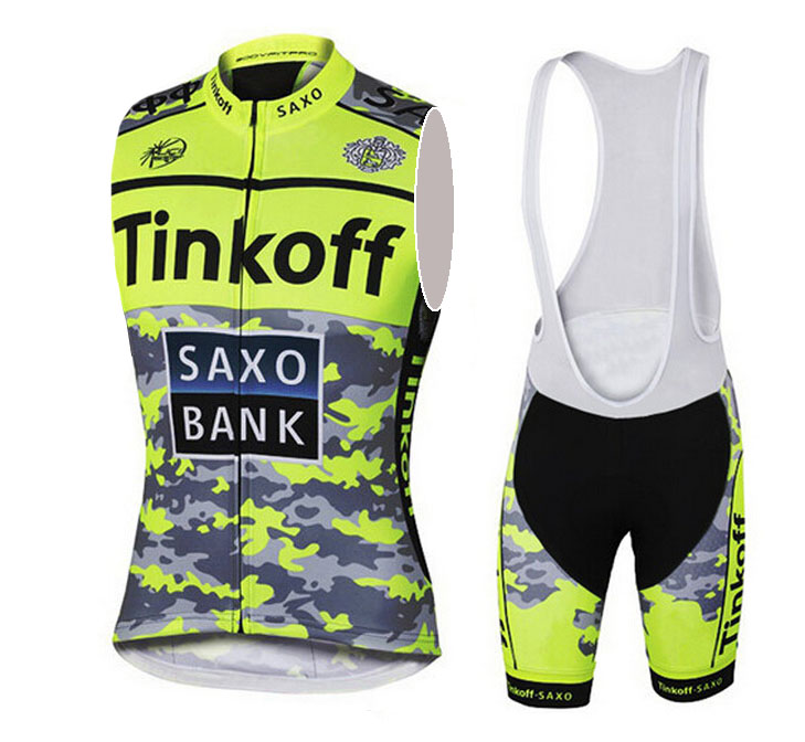 Flour Yellow Sleeveless Cycling Jerseys/Tinkoff Breathable Bike Clothing/Saxo Bank Quick Dry Roupa Ciclismo Bicycle Clothes(China (Mainland))