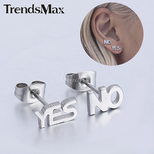 Trendsmax Black/Silver Color Stainless Steel Yes & Letters Studs Earrings Butterfly Back Mens Womens Jewelry KE200-KE201 - Flagship Store store