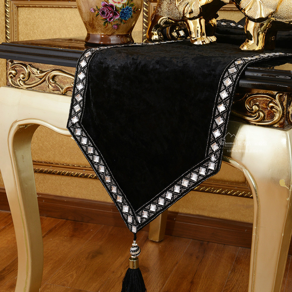 European-style luxury table runner Modern fashion table cloth black table runner free shipping(China (Mainland))