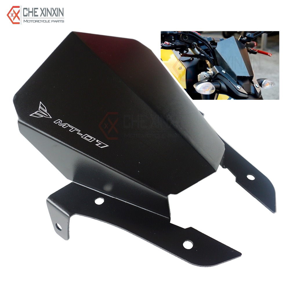 New Motorcycle cnc Aluminum Windshield Windscreen Wind Deflector Black For Yamaha MT07 MT-07 2013 2014 2015 High quality(China (Mainland))