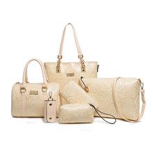 6 Pcs Set Pu Leather Embossing Composite Bag Chinese Styles Women Handbag Messenger Bag Fashion Shoulder