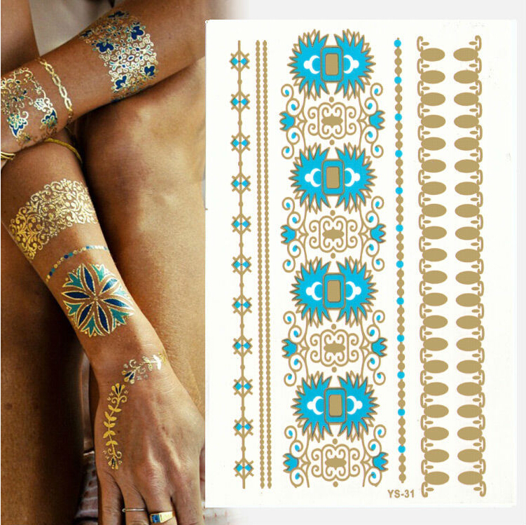 1pcs [799 design] High Quality flash tattoo sticker henna tattoo flash temporary tattoo summer style gold tatto Promotion cheap!(China (Mainland))