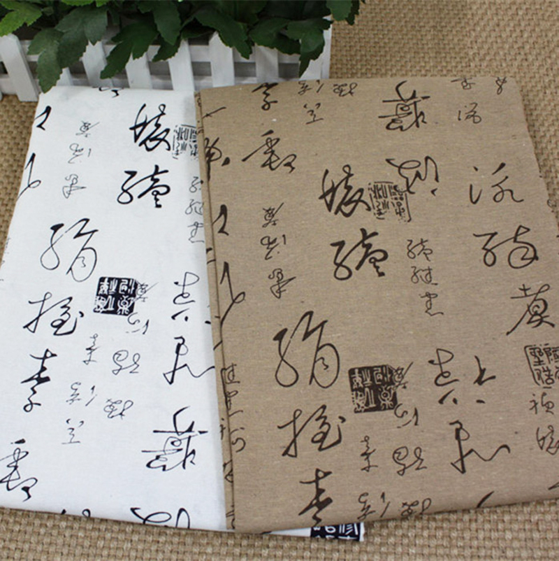 linen cotton fabric zakka table cloth upholstery chinese characters print linen fabric crafts tecido(China (Mainland))