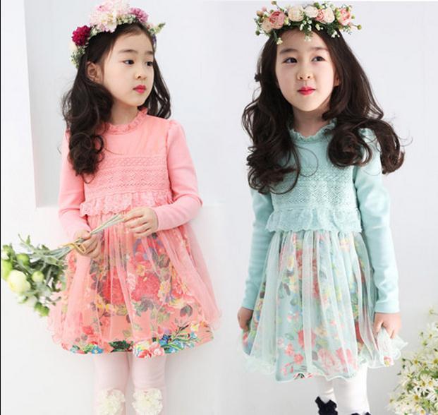 2015 мода весна новая девушка платья принцесс дети девочки ну вечеринку кружева детские цветочное платье