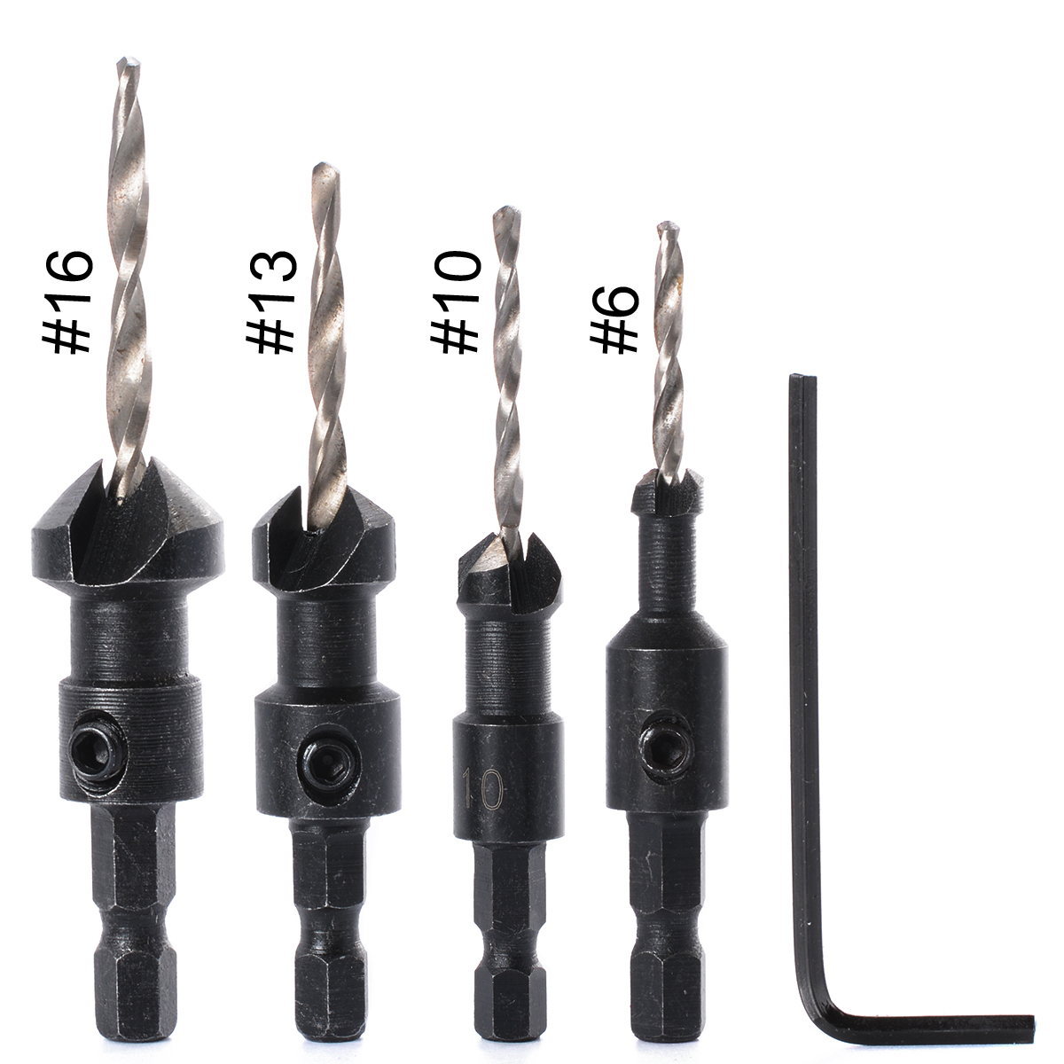 4 Sizes Tapered Counterbore HSS Drill Bit Set