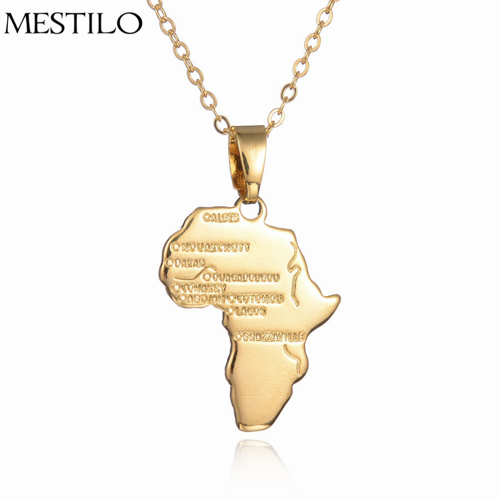 Africa Map Pendant Necklace Women Girl Gold Color Jewelry Men African Map Hiphop Item Wholesale Ethnic Ethiopia Ciondolo(China (Mainland))