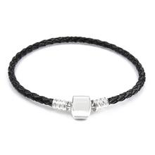 Free Shipping Silver Plated Genuine Leather Bracelet Women Charm Bead Bangle Fit Pandora Bracelets European Jewelry With Logo(China (Mainland))
