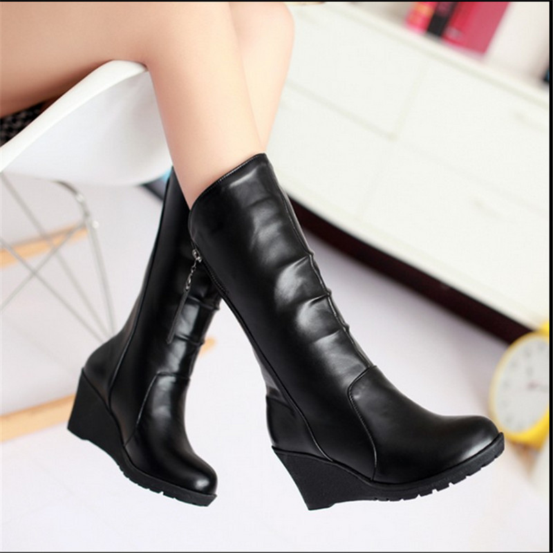 Autumn winter new medium-leg casual women boots wedges fashion snow boots keep warm boot plus size 40-43 ladies leather boots<br><br>Aliexpress