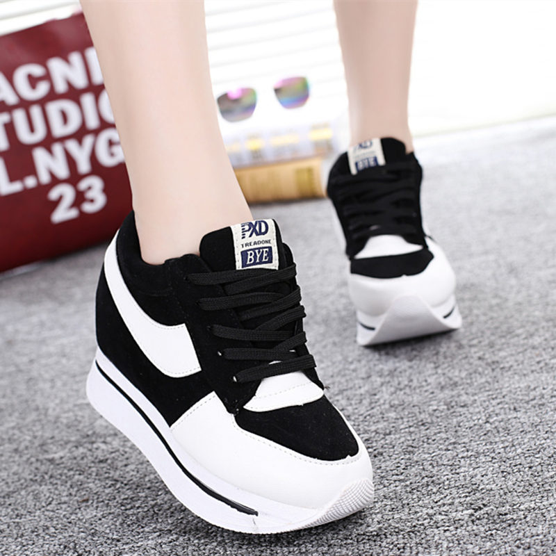 Korean new winter sports shoes leather color matching with the increase in students' muffin high shoes casual shoes, women shoes(China (Mainland))
