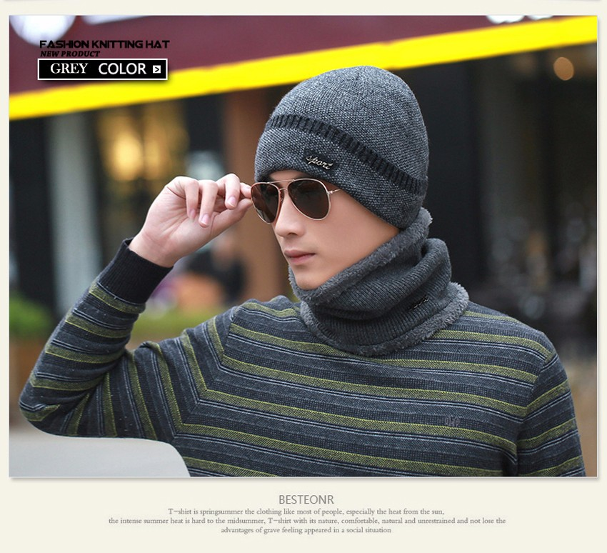 SEGLA Solid Hat Scarf Set for Men Casual Outdoor Sports Winter Snow Ski Cap Warm Plush Baggy Wool Knitted Earflaps Beanies Wrap