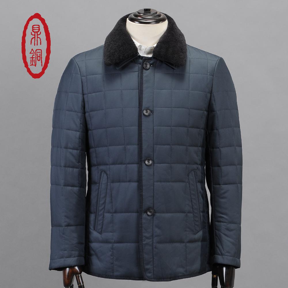 DINGTONG Men Winter Lined Coat Removable Genuine Lamb Fur Collar Jacket Male Light Padded Overcoat Casual Slim Grey Blue Coat(China (Mainland))