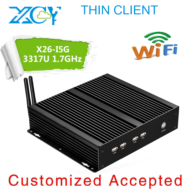 High performance for personal thin client Aluminium alloy fanless X26-i5G 4G RAM 64G SSD black fashion design factory pc(China (Mainland))