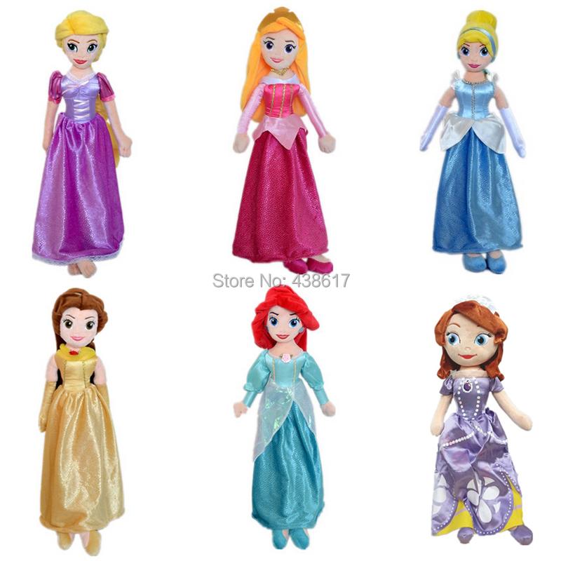 New Disny Princess Dolls Rapunzel Sofia Mermaid Ariel Snow White Cinderella Belle Plush Doll 50cm Princesse Pelucia Peluche Toys(China (Mainland))