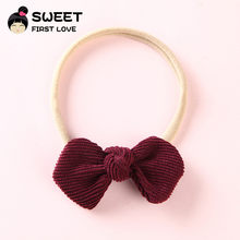 1PCS Corduroy Bow Nylon Headbands For Kids Girls, Soft Stretch Headbands Cute Hair Accessories Headwear Hair Bands Party Gift(China)