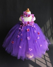 Buy Cute Girls Purples Flower Petals Tutu Dress Kids Fluffy Layers Tulle Wedding Party Dress Ball Gowns Headband Children Tutus for $15.02 in AliExpress store