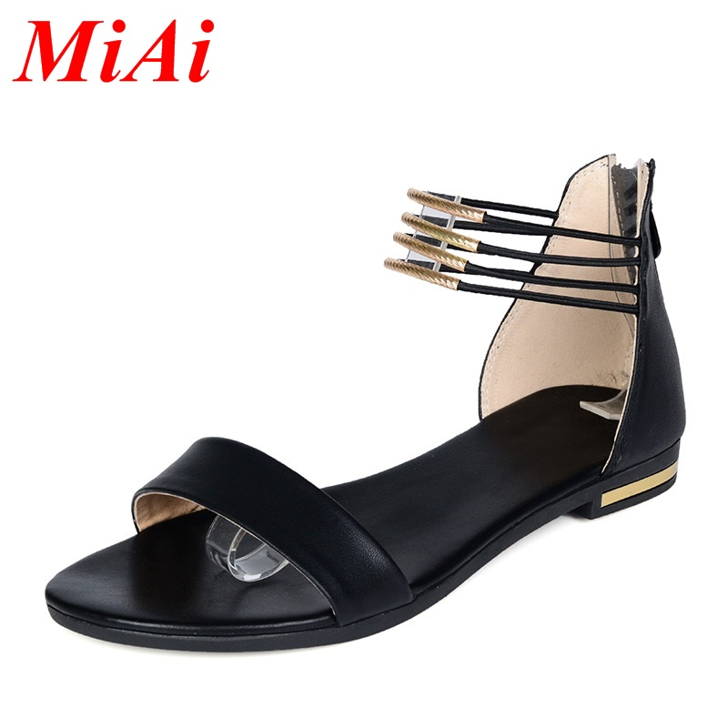 new arrival comfortable real leather women sandals flat heel summer zip casual single shoes woman sandal fashion soft slippers<br><br>Aliexpress