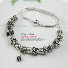 European Style Tibetan Silver Animal Collar Necklace Women with Charmilia Glass Beads Fashion Jewelery PA2077(China (Mainland))